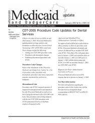 CDT-2005 Procedure Code Updates for Dental ... - Wisconsin.gov