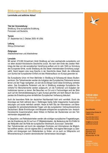 Programm Strassburg 2009 - forum unna