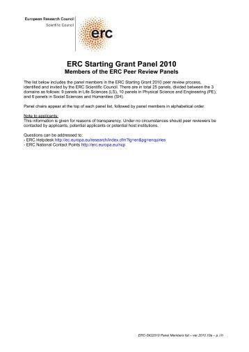 ERC Starting Grant Panel 2010 - ERC - Europa