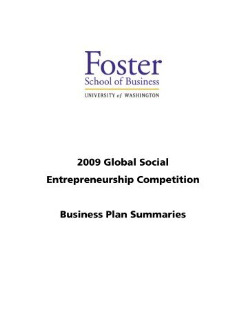 2009 Global Social Entrepreneurship Competition Business Plan ...