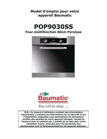 Model d'emploi pour votre appareil Baumatic POP9030SS Four ...