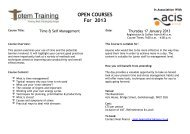 Open Courses throughout 2013