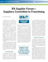 IFA Supplier Forum - International Franchise Association