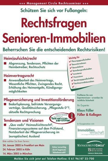 Rechtsfragen Senioren-Immobilien - RAe Füßer und Kollegen