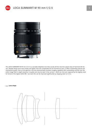 Summarit-M 90 mm Technical data - Leica Camera AG