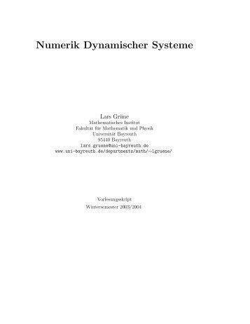 Numerik Dynamischer Systeme - Universität Bayreuth