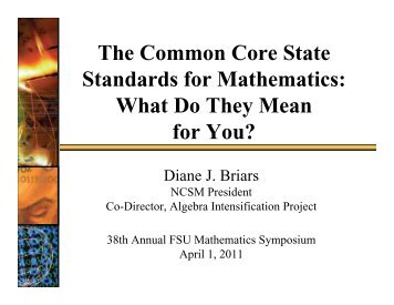 The Common Core State Standards for Mathematics: What Do They ...