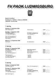 Offizieller Spielplan Saison 08 / 09 - fv paok ludwigsburg