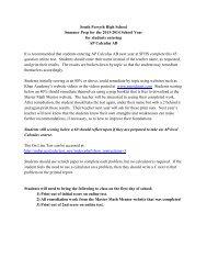 AP Calculus AB Sum. Reading 2013 - Forsyth County Schools