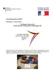 Press Release No. 01/2013 The Élysée Treaty at 50 - Embassy of ...