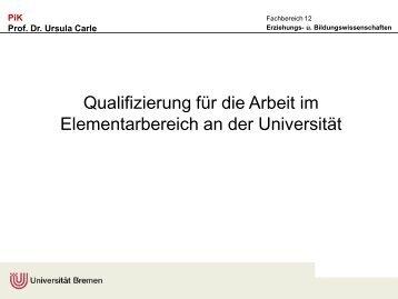 Qualifizierung für die Arbeit im Elementarbereich an der Universität ...