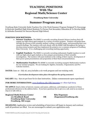 SUMMER TEACHING POSITIONS in - Frostburg State University