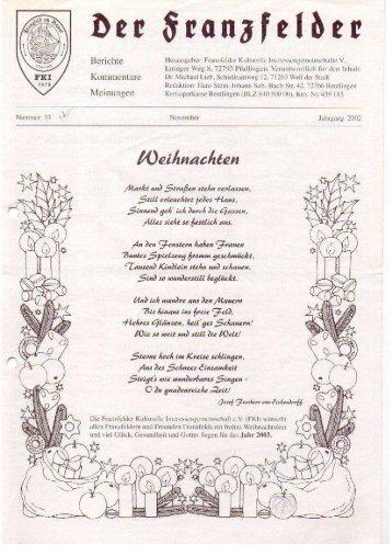 Ausgabe 33 hier herunterladen - Die Franzfelder