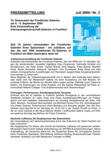 PRESSEMITTEILUNG Juli 2009 / Nr. 2 - Saisonstart Frankfurter ...