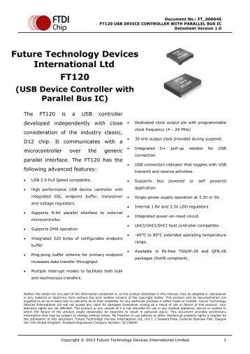 Future Technology Devices International Ltd. FT120 - FTDI