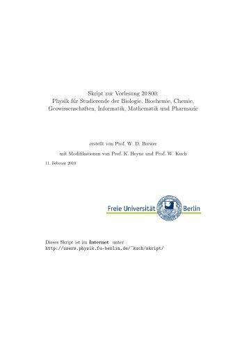 Skript zur Vorlesung 20 800: Physik für Studierende der Biologie ...