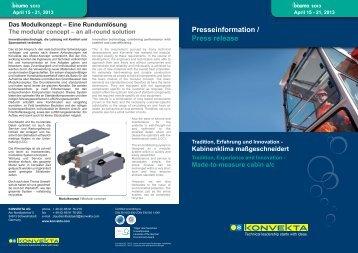 P resseinformation / Press release April 15 - 21, 2013 ... - Konvekta AG