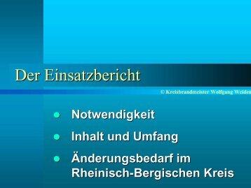 Der Einsatzbericht - Feuerwehrverband Rheinisch-Bergischer Kreis ...