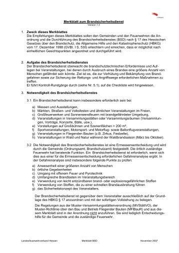Merkblatt zum Brandsicherheitsdienst - Feuerwehr Mackenzell