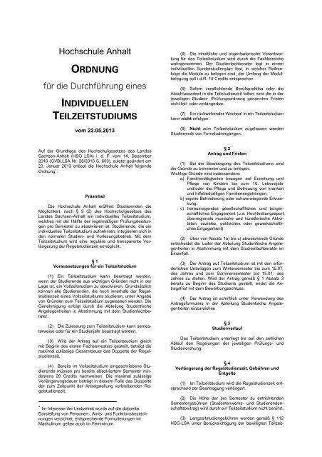 Ordnung für die Durchführung eines Individuellen Teilzeitstudiums
