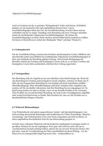 Allgemeine Geschäftsbedingungen - Fotohaus und Kunstgalerie ...