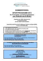 Programm 2013 in Bearbeitung - Friedrichshafen