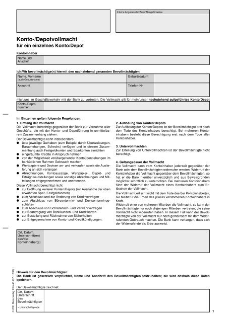 Konto Depotvollmacht Schulbank