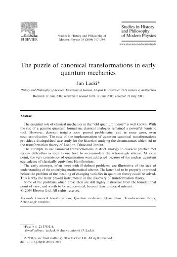 The puzzle of canonical transformations in early quantum mechanics