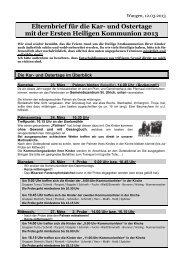 Elternbrief für die Kar- und Ostertage mit der Ersten Heiligen Kommunion 2013