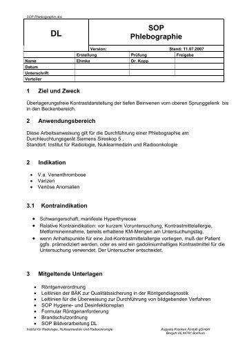 SOP Phlebographie - Institut für Radiologie, Nuklearmedizin und ...