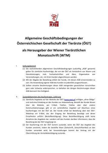 Allgemeine Geschäftsbedingungen AGB - Wiener Tierärztliche ...