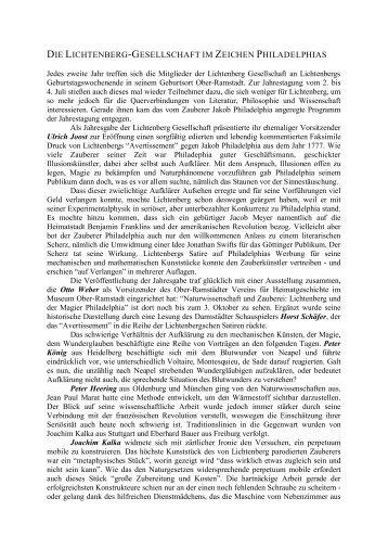 Rückblick auf die Jahrestagung 2004 - Lichtenberg-Gesellschaft eV