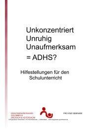 Informationen für Lehrer über ADHS - Ergotherapiepraxen Golombeck
