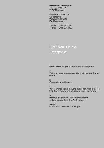 Richtlinien für die Praxisphase - Fakultät Informatik - Hochschule ...