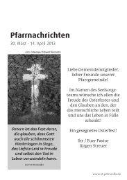 Pfarrnachrichten vom 30. März - 14. April 2013 - St. Petronilla
