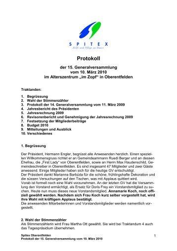 Protokoll der GV vom 10. März 2010 - Gemeinde Oberentfelden