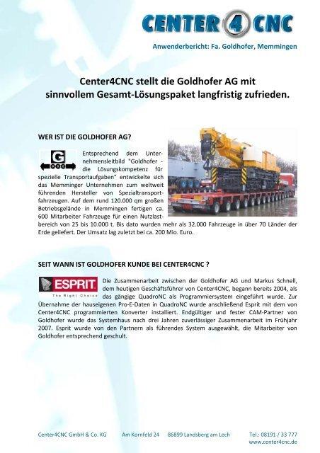 Fa. Goldhofer - Center4CNC