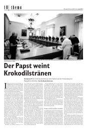 22. Februar 2010 Die Tageszeitung junge Welt Der Papst weint ...