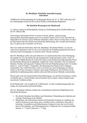 Künstliche Samenübertragung beim Hund - Landesgruppe Hessen