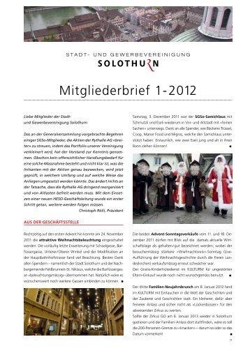 Infobrief 1-2012 - Stadt- und Gewerbevereinigung Solothurn