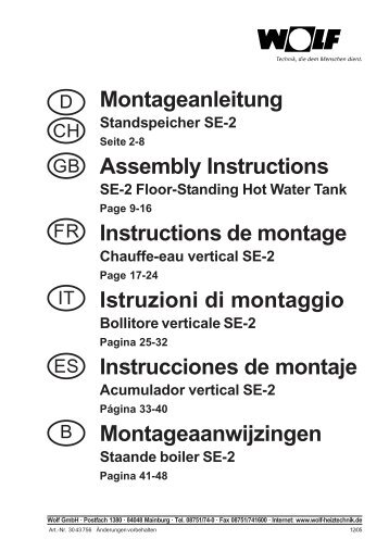 Montageanleitung Assembly Instructions Instructions ... - WOLF Italia