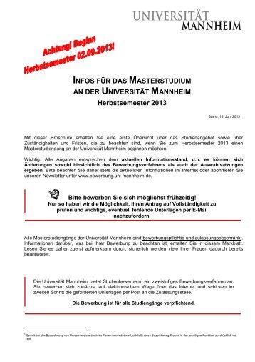 masterbroschre universitt mannheim zulassungsstelle - Bewerbung Uni