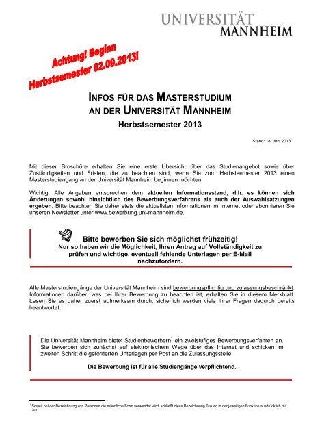 Viel Erfolg Bei Der Bewerbung Universitat Mannheim 10