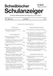 Schulanzeiger 07 2003 - Regierung von Schwaben - Bayern