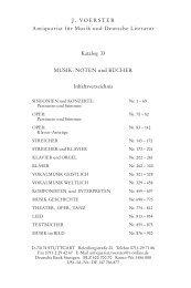 NOTEN und BÜCHER Inhaltsverzeichnis - J. Voerster | Antiquariat ...
