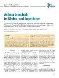 """Leitlinie """"Asthma bronchiale im Kindes- und Jugendalter - APPA eV"""