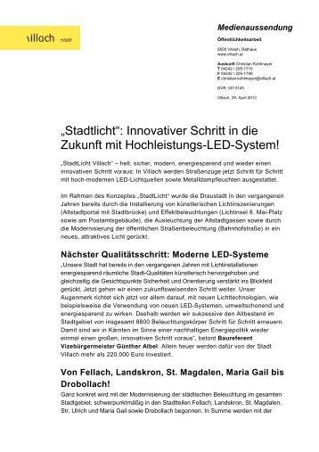"""""""Stadtlicht"""": Innovativer Schritt in die Zukunft mit ... - Villach"""