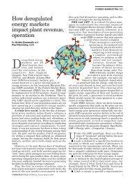 How deregulated energy markets impact plant revenue, o p e r a t i o n