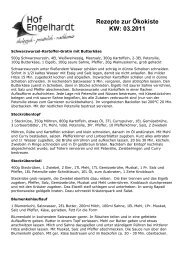 Rezepte zur Ökokiste KW: 03.2011 - Hof Engelhardt