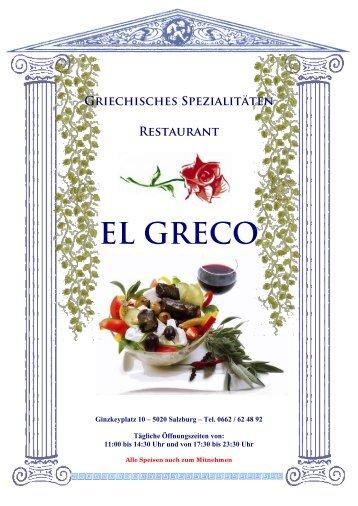 Speisekarte - El Greco